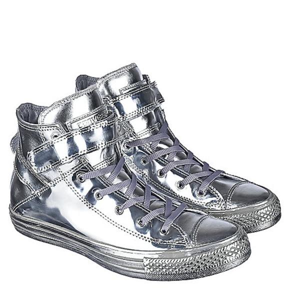 Converse Shoes | High Top Velcro Silver